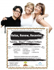 Relax, Renew, Recenter – Tuesday May 2nd, 7-9pm